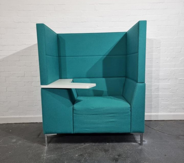 Used Connection High Back Booth Armchair With Laptop Arm, Teal