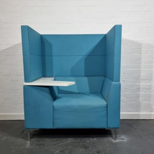 Used Connection High Back Booth Armchair With Laptop Arm, Baby Blue