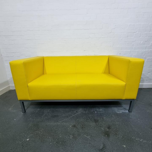 Used Dieter Schultz Designer Yellow Real Leather Sofa, Low Back