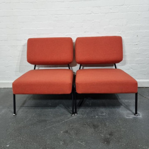 Used Pair Of Connection Reception Chairs, Soft Padded, Peach Fabric
