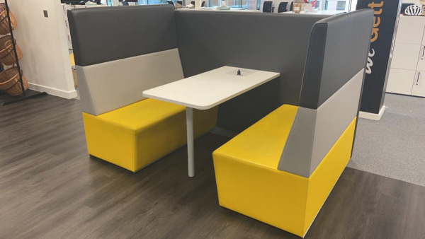 Used Connection 4 Person Booth Seating + Table, Real Leather, Yellow Grey