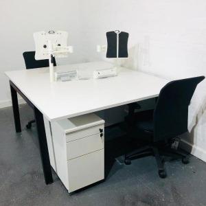 KI White Back To Back Bench Desk, Black Legs, Extras, W1400xD800mm