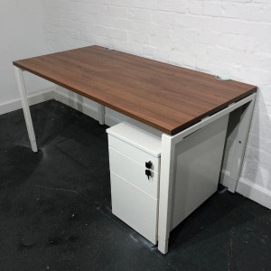 Used Haworth Height Adjustable Desk, Walnut Top, White Legs, W1400mm