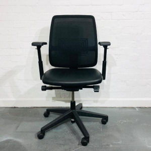 Used Haworth Lively Fully Adjustable Task Chair, Leather Seat, Mesh Back