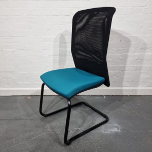 Used Elite High Back Mesh Meeting Chair, Stacking, Cantilever, Blue