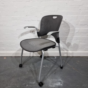 Used Herman Miller Caper Mobile Stackable Meeting Chair, Graphite