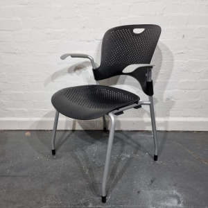 Used Herman Miller Caper Mobile Stackable Office Chair, Graphite / Black