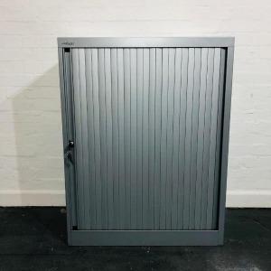 Used Bisley Mid Height Tambour Cupboard, 2 Adjustable Shelves, Grey