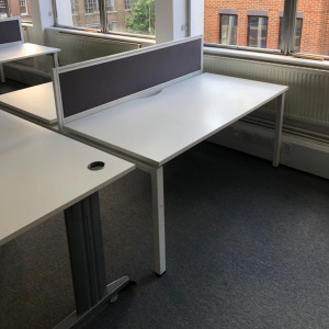 Used Claremont Back To Back Bench Desks With Screens, White
