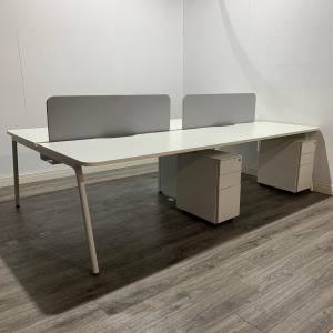Used White 4 Person Back To Back Bench Desks, Screens & Pedestals