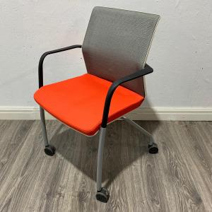 Used Orangebox WD-FLA Mobile Mesh Meeting Chair, Grey / Orange