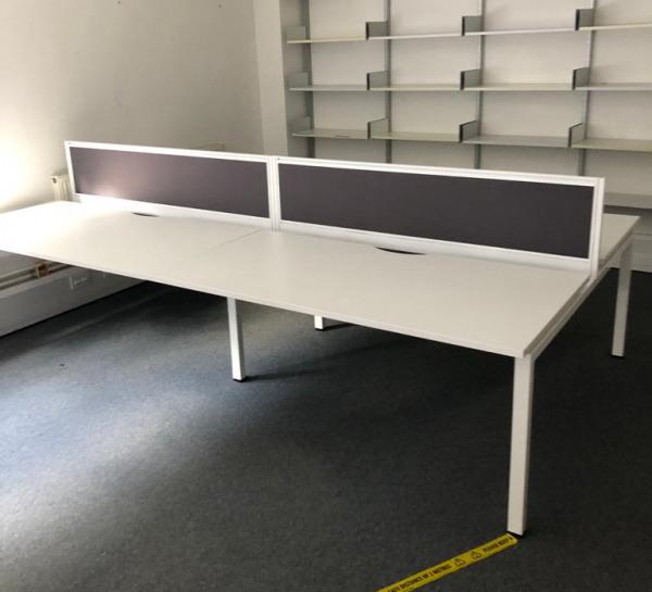 Used KI 1600mm Bench Desk, White, Metal Legs, Includes Privacy Screen