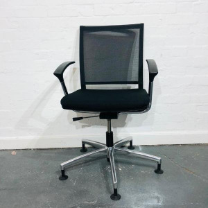 Used Office / Meeting Chair, Mesh Back, Armrests, Chrome Swivel Base
