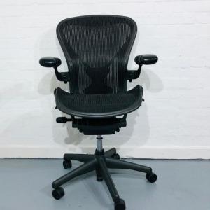 Refurbished Herman Miller Aeron Mesh Office Chair, Posture Fit, Graphite