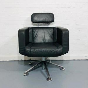 Used Giroflex Designer Armchair, Headrest, Swivel Base, Black Leather