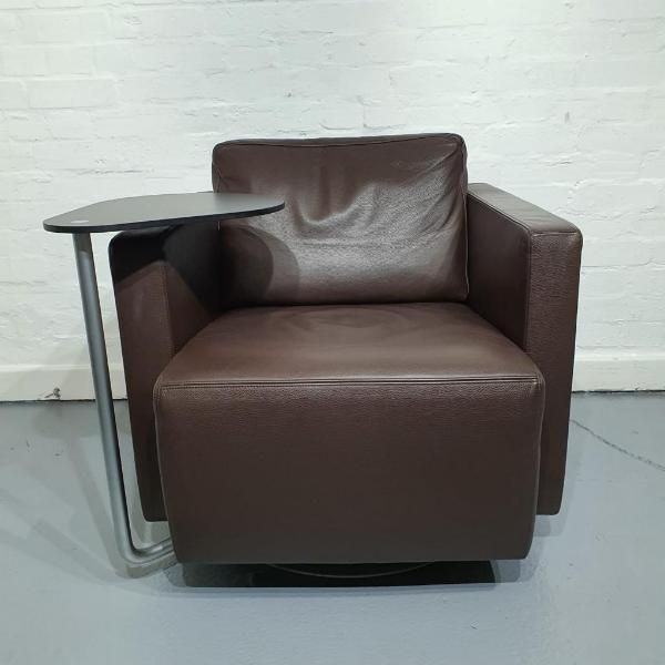 Used Walter Knoll Armchair, Swivel Base, Writing Arm, Real Leather