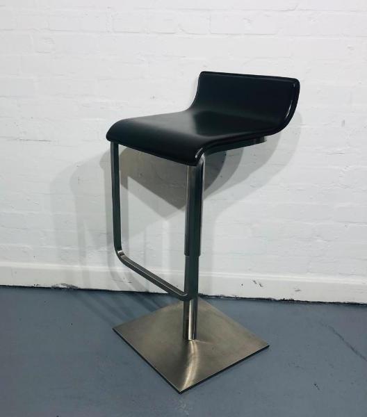 Used Modern Designer Bar Stool, Metal Frame, Brown Leather Seat