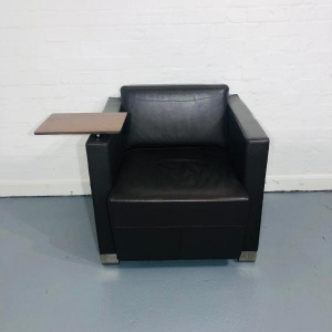 Used Boss Design Armchair With Writing Table, Brown Real Leather