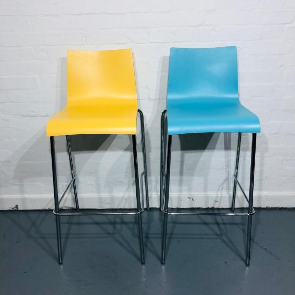 Used Connection Designer Bar Stool, Wooden Seat, Blue / Yellow