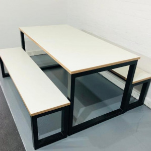 Used Modern Rectangular Canteen / Dining Table, White / Black