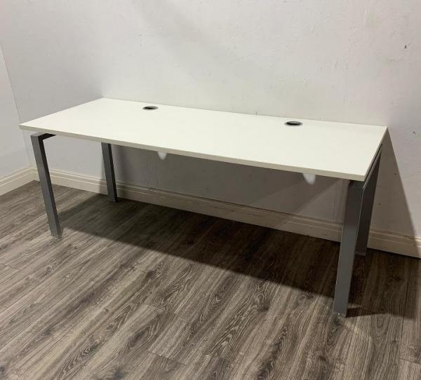 Used Verco Modern Office Desk, Metal Frame, White, Large W1800mm
