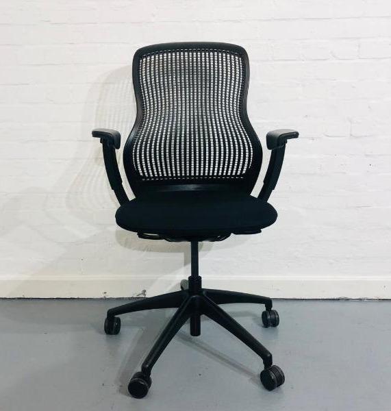 Used Knoll Regeneration Designer Office Task Chair, Armrests, Onyx Black