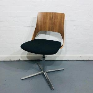 Used Kinnarps Embrace Meeting Room Chair, Walnut Back, Grey Seat