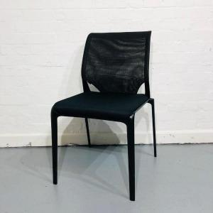 Used Vitra Medaslim Designer Mesh Multipurpose Visitor Chair, Black