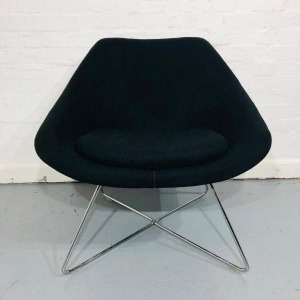 Used Allermuir Open A642 Reception / Lounge Chair, Wire Frame, Black