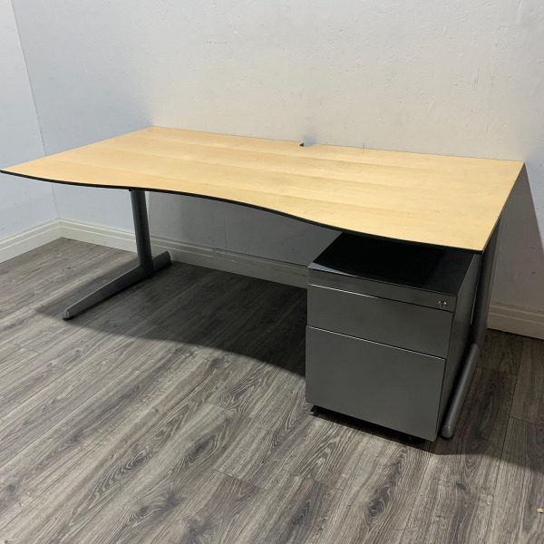 Used Ahrend Double Wave Desk & Pedestal, Cantilever, Maple W1750mm