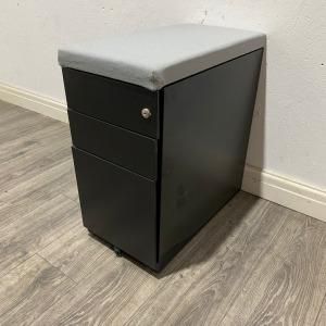 Used Techo Mobile Slimline Metal 3 Drawer Desk Pedestal, Black