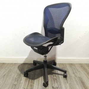 Used Herman Miller Aeron Office Chair Size B, Blue Mesh, No Armrests