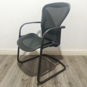Used Herman Miller Aeron Office Meeting Chair, Cantilever Frame, Green