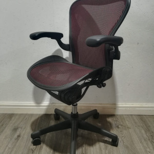 Used Herman Miller Aeron Office Chair Size B, Lumbar Support, Red Mesh