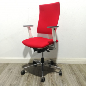 Used High Back Office Operator Chair, Adjustable, Armrests, Red / White