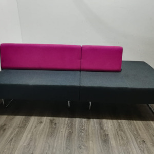 Used Orangebox 4 Seater Modular Reception Sofa, Grey / Purple Fabric