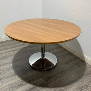 Used Round Meeting Table, Chrome Frame, Walnut Finish, 800mm