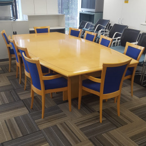 Large 10 Person Boardroom Table With Chairs, Maple Veneer, L2800mm