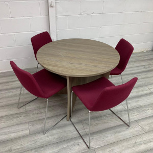 Round Walnut Finish Table With 4 Burgundy Red Skid Frame Chairs Set