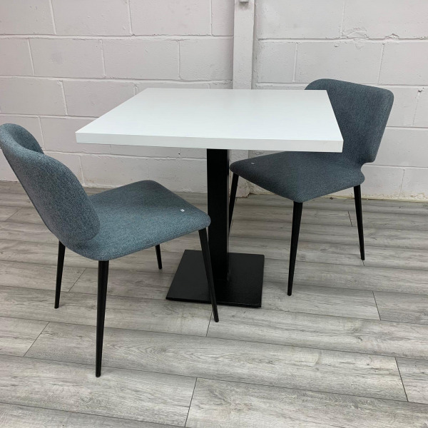 Used 800mm Square White Meeting / Dining Table With 2 Blue Chairs Set