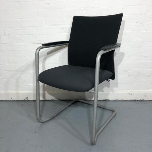 Used Haworth Comforto Mesh Meeting Chair, Stackable, Black / Grey