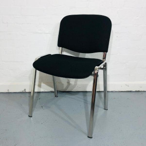 Used Stackable Conference / Meeting Chair, Black Fabric, Chrome Legs