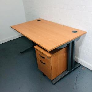 Used Claremont Rectangular Desk & 3 Drawer Pedestal Set, 1400mm