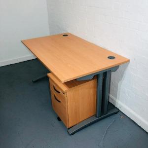 Used Claremont Rectangular Desk & 3 Drawer Pedestal Set, 1600mm