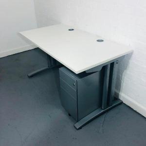 Used Claremont White Rectangular Desk & 3 Drawer Pedestal Set, 140cm