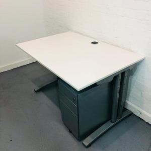 Used White 1200mm Claremont Desk & 3 Drawer Pedestal Set