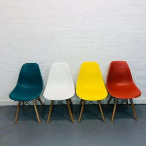 Used Eames-Style Dining Chairs, Moulded Plastic Seat / Wooden Legs