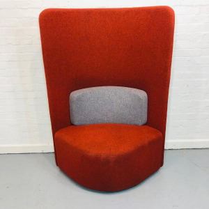 Used Boss Design 1 Person Booth Chair, High Back, Orange / Grey Fabric