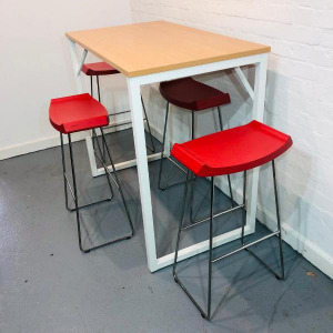 Used Steelcase 4 Person High Poseur Table & 4 Red Bar Stools