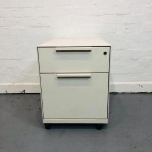 Used Vitra Metal 2 Drawer Mobile Desk Pedestal, White, No Keys